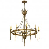 IQ8163 10 - LIGHT CANDLE STYLE WAGON WHEEL CHANDELIER